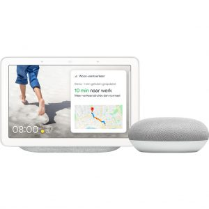 Google Nest Hub Chalk + Google Nest Mini Wit kopen?
