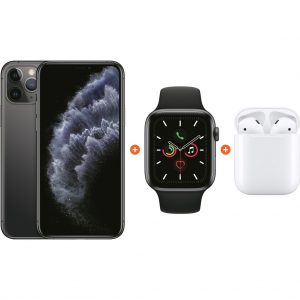 Apple iPhone 11 Pro 64 GB Space Gray + Apple Watch 5 44mm + Apple AirPods 2 met oplaadcase kopen?