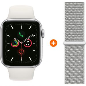 Apple Watch Series 5 44mm Zilver Witte Sportband + Nylon Sport Loop Schelpenwit kopen?