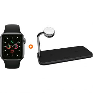Apple Watch Series 5 44mm Space Gray Zwarte Sportband + ZENS Draadloze Oplader 10W Zwart kopen?